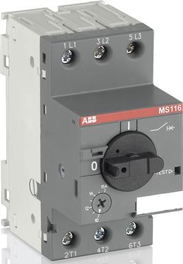 Автомат защиты двигателя MS116-12.0 25 кА с регулировкой тепловой защиты 1SAM250000R1012 ABB