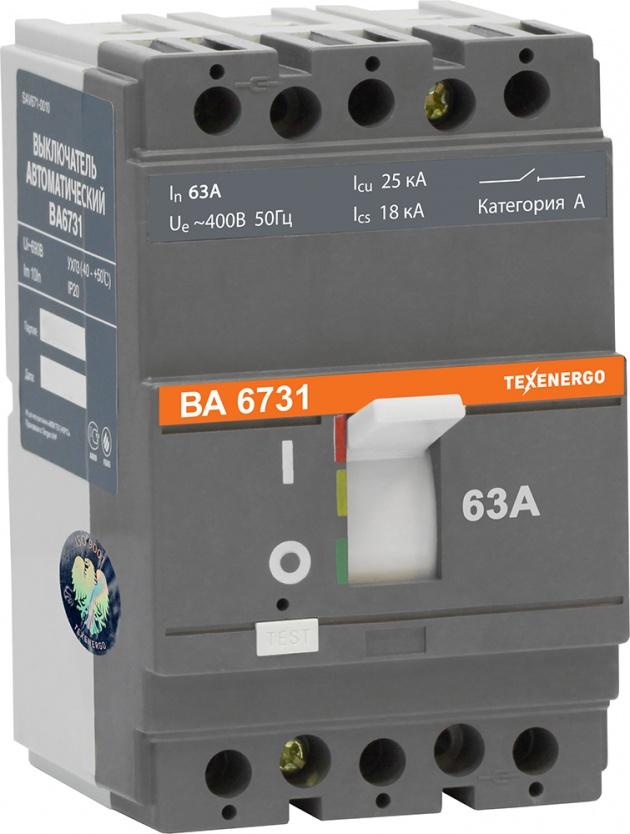 Автоматический выключатель ВА 6731 63А 25кА 3п SAV671-0063 Texenergo