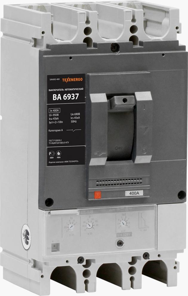 Автоматический выключатель ВА 6937 400А  эл.расц-ль 0,4-1In (160-400А), Ir=2-10In 45кА SAV692-400 Texenergo