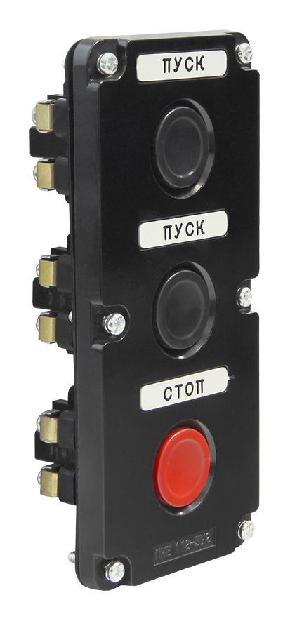 Пост кнопочный ПКЕ 112-3 Черный Кнопка PKE1123 Texenergo