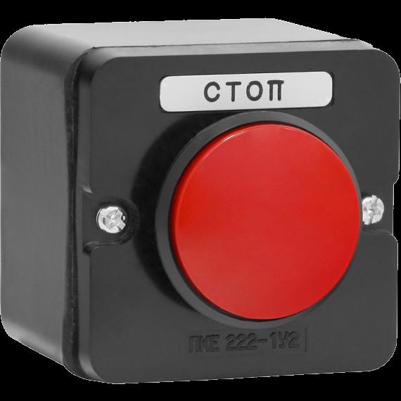 Пост кнопочный ПКЕ 222-1 У2 красный гриб IP54 (карболит) ГОСТ PKE2221GR Texenergo