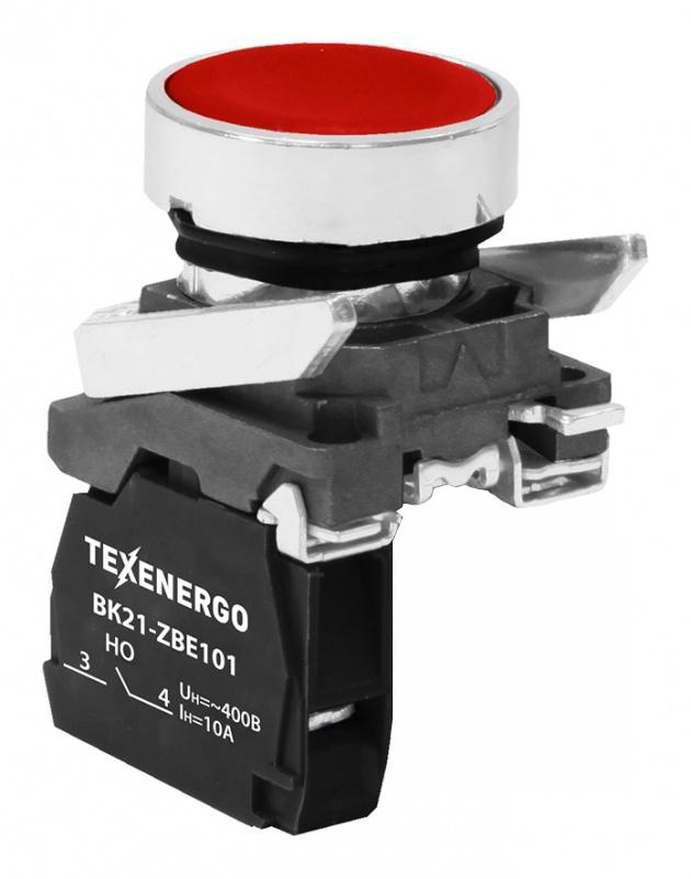 Выключатель кнопочный ВК21-BA42 0но+1нз красный B21-BA42 Texenergo