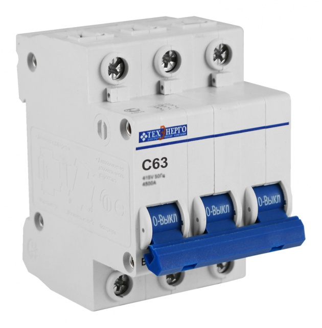 Автоматический выключатель ВА 6729 3п 63А С 4,5кА TAM34C63 Texenergo