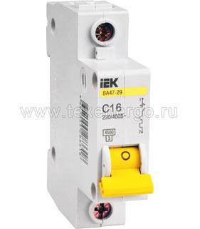 Автоматический выключатель ВА 4729 1Р 16А 4,5кА х-ка С MVA20-1-016-C IEK