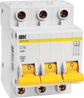 Автоматический выключатель ВА 4729 3Р 16А 4,5кА х-ка С MVA20-3-016-C IEK