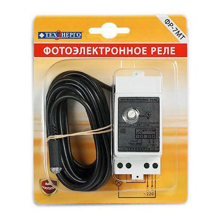 Фотореле ФР 7МТ 10А 220В IP40 не отключаемый датчик 3м на DIN-рейку RF7M10 Texenergo