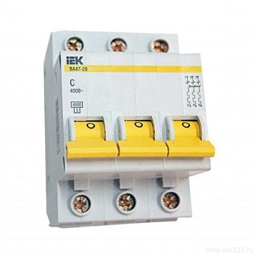 Автоматический выключатель ВА47-29 3Р 63А 4,5кА х-ка С ИЭК MVA20-3-063-C IEK