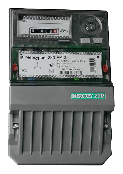 Счетчик электроэнергии Меркурий 230 AM-01 5(60)А 3*230/400В 1тариф кл.т.1 мех.ОУ, имп.вых. М230AM-01 Инкотекс
