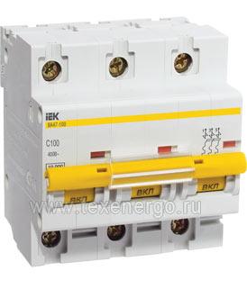 Автоматический выключатель ВА 47-100 3Р 100А 10 кА х-ка С ИЭК MVA40-3-100-C IEK