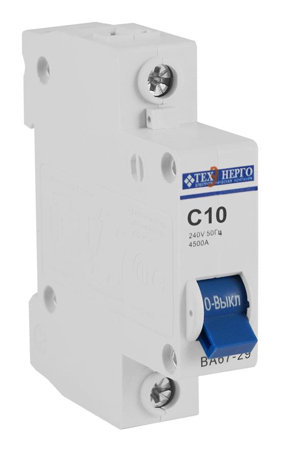 Автоматический выключатель ВА 6729 1п 10А С 4,5кА TAM14C10 Texenergo