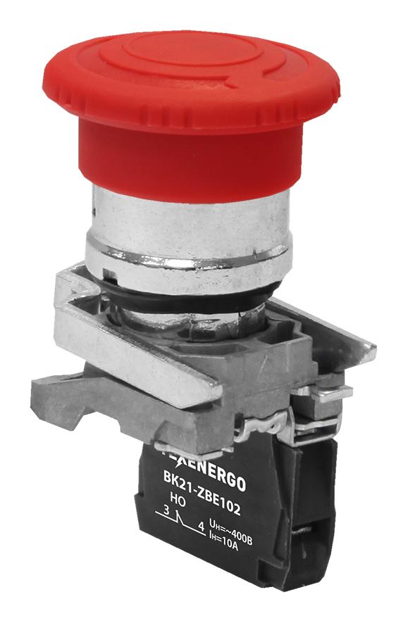 Выключатель кнопочный ВК21-ВS542 1р кр.гриб с фикс. (возврат поворотом) B21-BS542 Texenergo