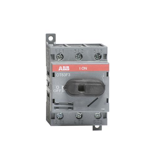Рубильник OT63F3 до 63А 3х-полюсный для установки на DIN-рейку или монтажную плату (с резерв. ручкой 1SCA105332R1001 ABB
