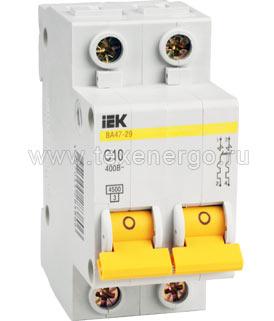 Автоматический выключатель ВА 4729 2Р 10А 4,5кА х-ка С ИЭК MVA20-2-010-C IEK