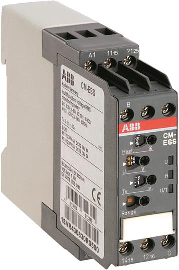 Однофазное реле контроля напряжения CM-ESS.M многофункц. (диапаз. изм. 3-30В, 6-60В, 30-300В, 60-600 1SVR430830R0500 ABB