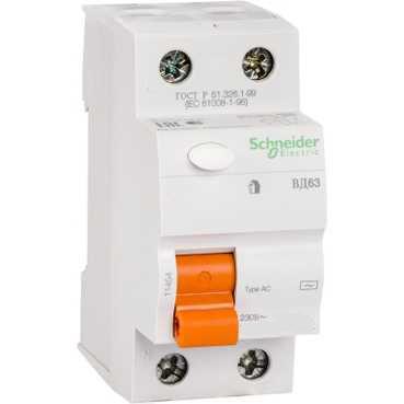 УЗО ВД63 2п 16A/10мА AC 0,5/4,5кА 11454 Schneider Electric