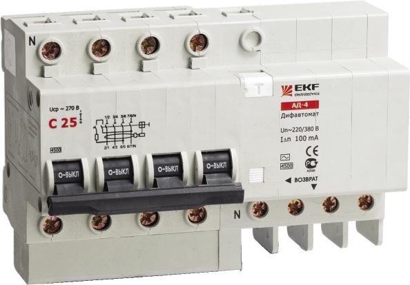 АД-4 16А/30мА (характеристика C, тип AC) 4,5кА EKF DA4-16-30 EKF