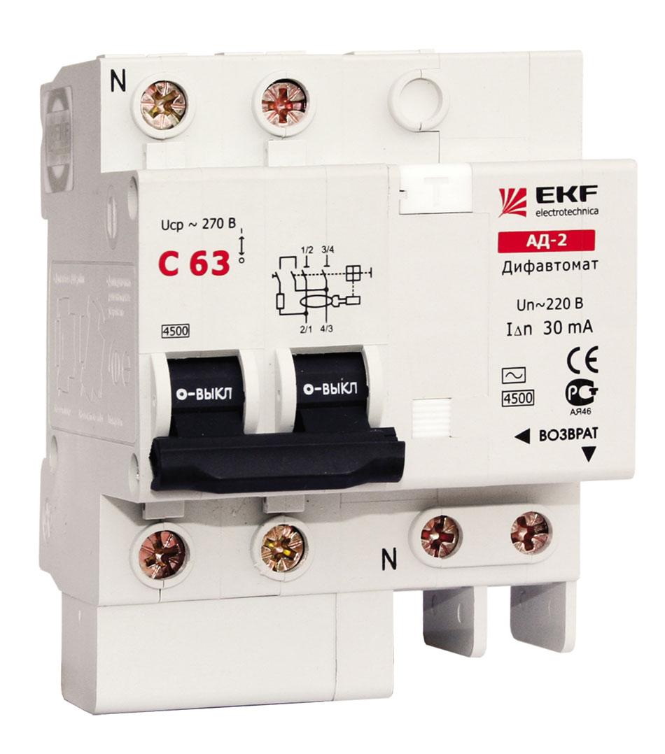 АД-2 16А/100мА (характеристика C, тип AC) 4,5кА EKF DA2-16-100 EKF