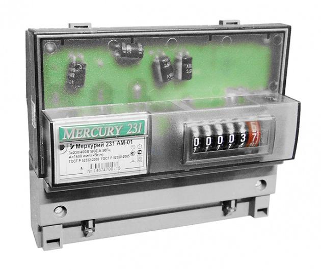 Счетчик электроэнергии Меркурий 231 AM-01 5(60)А 3*230/400В 1 тариф класс точности 1 М231AM-01 Инкотекс