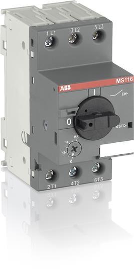 Автомат защиты двигателя MS 116 4-6.3 50 кА с регулировкой тепловой защиты 1SAM250000R1009 ABB