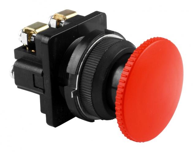 Выключатель кнопочный КЕ 021/2 красный гриб 1з+1р B0212-11R Texenergo