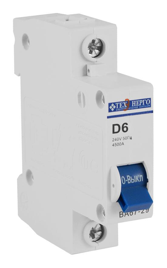 Автоматический выключатель ВА 6729 1п 6А D 4,5кА TAM14D06 Texenergo