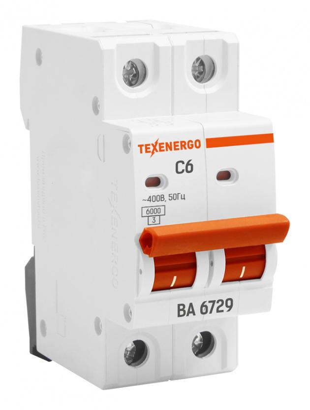 Выключатель автоматический ВА 6729 2п 6А С 6кА TAM24C06 Texenergo