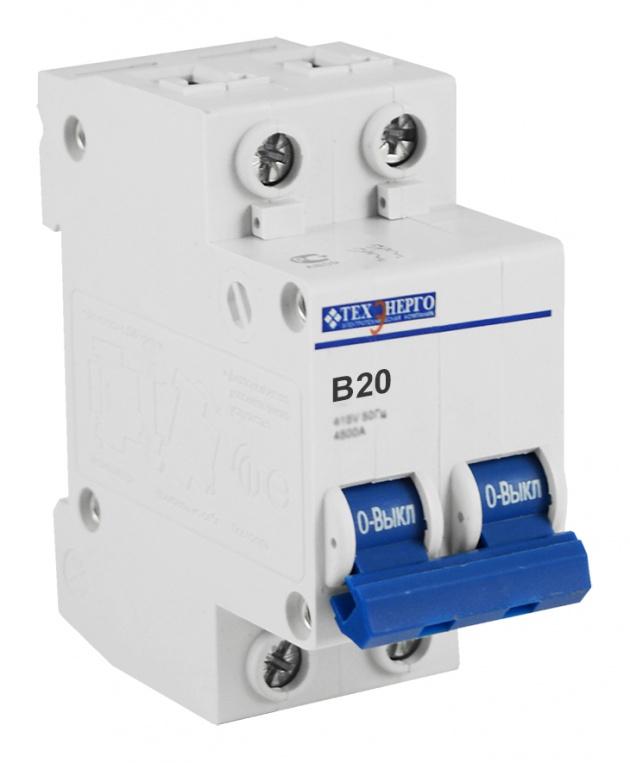 Автоматический выключатель ВА 6729 2п 20А В 4,5кА TAM24B20 Texenergo