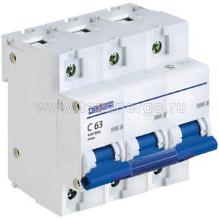 Автоматический выключатель ВА 67100 3п 63А С 10кА TAM310C063 Texenergo