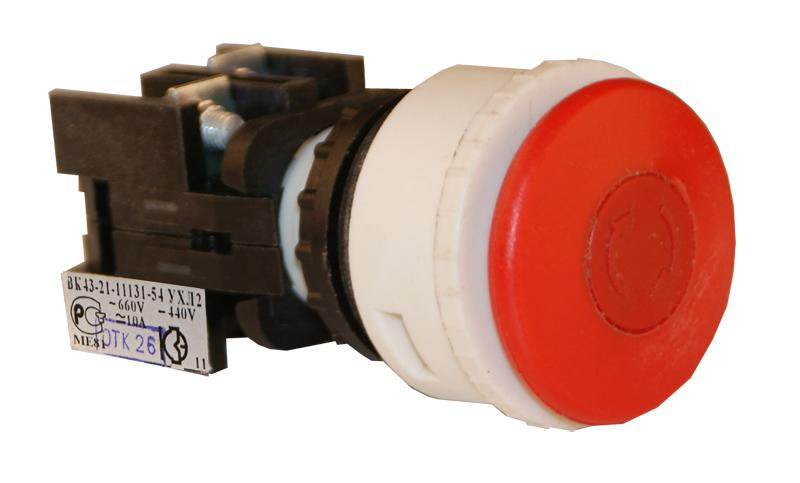 Выключатель кнопочный ВК 43-21-11131-54 УХЛ2, Красный гриб 180111310ВК000000000 Кашинский Завод Электроаппаратуры