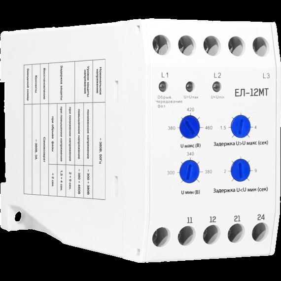 Реле контроля 3-фазной сети ЕЛ-12 МТ 300-422В 50/60Hz 1NO+1NC (Без подключения N) PR12Q Texenergo