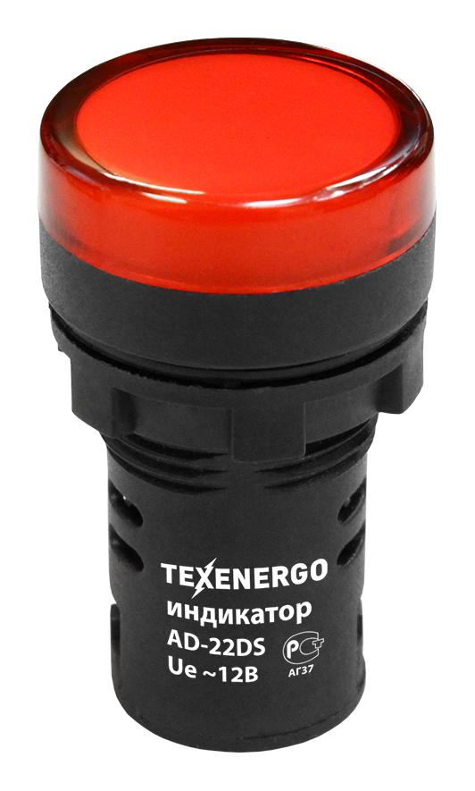 Индикатор светодиодный AD22DS d22мм AC/DC 12В красный MFK10-ADDS-012-04 Texenergo