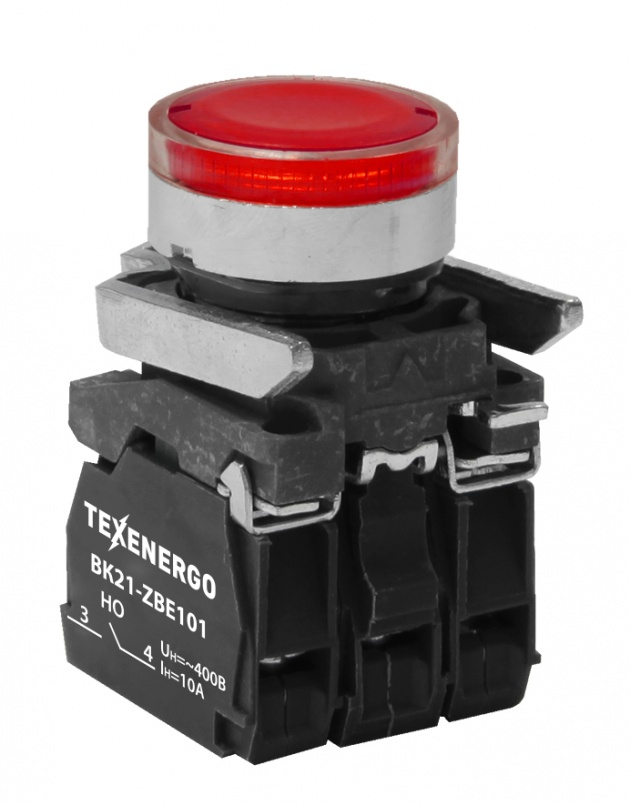 Выключатель кнопочный ВК21-ВW34M5 1р красный, подсветка LED 220В B21-BW34M Texenergo