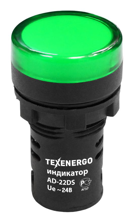 Индикатор светодиодный AD22DS 22мм 24В зеленый MFK10-ADDS-024-06 Texenergo