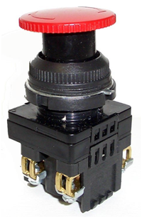 Выключатель кнопочный КЕ 201/2 красный гриб 1з+1р  Без производителя