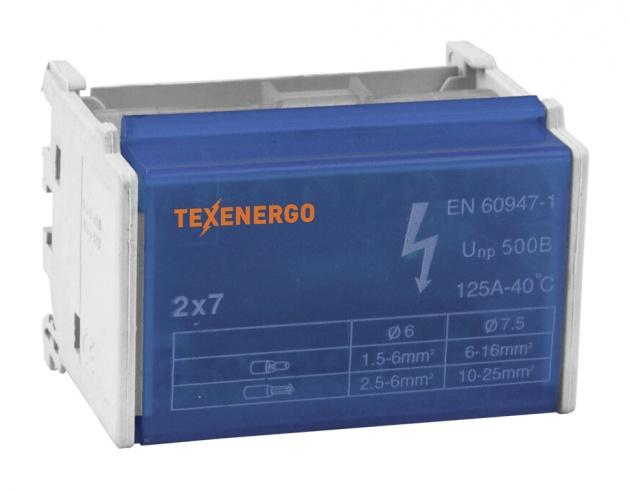 Шина нулевая на DIN-рейку в корпусе 2х7 групп ND2-07 Texenergo