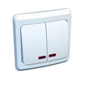 Этюд Выключатель с/у 2 клавишы схема 5 с подсветкой белый BC10-006B Schneider Electric