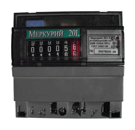 Однофазный счетчик учета активной энергии Меркурий 201.5 5(60)А 230В 1тариф кл.т.1 ОУ, имп.вых., с шунтом 1ф М201.5 Инкотекс