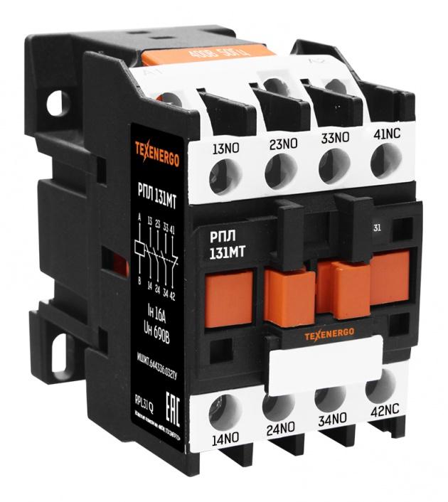 Реле промежуточное промышленное РПЛ 131  3но+1нз  380В AC RPL31Q Texenergo