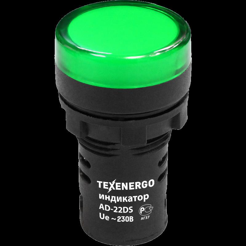 Индикатор светодиодный AD22DS 22мм 220В AC зеленый MFK10-ADDS-230-06 Texenergo
