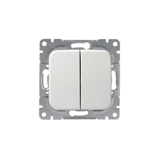 Выключатель 2-клавишный, 1-полюсный, 16А/230В (схама 5), серия Jussi, белый 1065U ABB