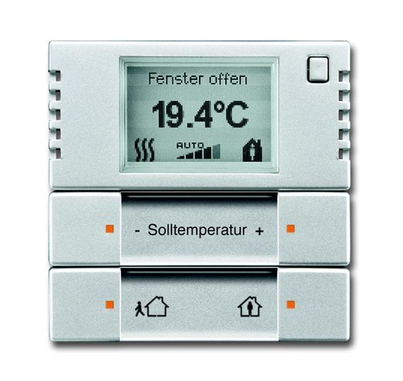 6124/01-83-500 Терморегулятор комнатный с дисплеем, FM, серебристый алюминий 6134-0-0275 ABB