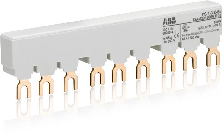Шинная разводка 3-фазн. PS1-3-0-65 до 65А для 3-х автоматов типа MS116, MS132 без доп. контактов 1SAM201906R1103 ABB