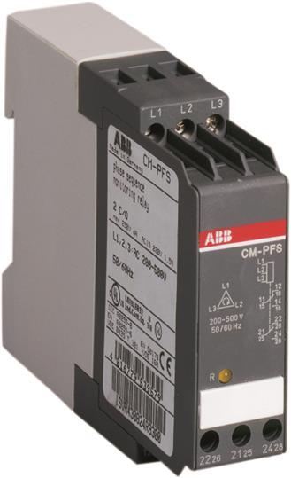 Трехфазное реле контроля напряжения CM-PFS (контроль обрыва и чередования фаз) 3x200-500В AC, 2ПК 1SVR430824R9300 ABB