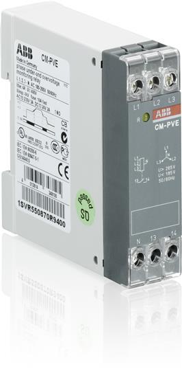 Реле контроля напряжения CM-PVE (контроль 1,3 фаз) (контроль Umin/max с нейтралью L-N 185..265В AC ) 1SVR550870R9400 ABB