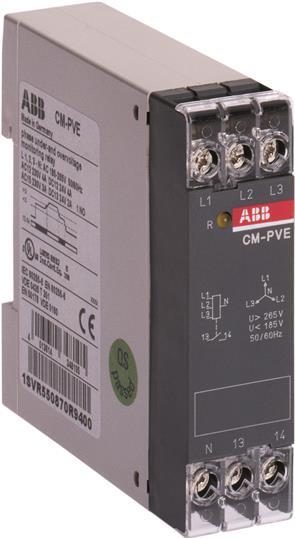 Реле контроля напряжения CM-PVE (контроль 3 фаз) (контроль Umin/max L1- L2-L3 320-460В AC) 1НО конта 1SVR550871R9500 ABB