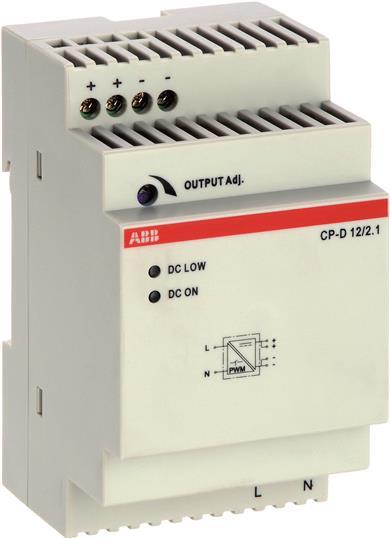 Блок питания CP-D 12/2.1 (регулир. вых. напряж) вход 90-265В AC / 120-370В DC, выход 12В DC /2.1A 1SVR427043R1200 ABB