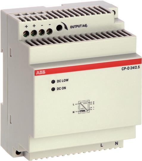 Блок питания CP-D 24/2.5 (регулир. вых. напряж) вход 90-265В AC / 120-370В DC, выход 24В DC /2.5A 1SVR427044R0200 ABB