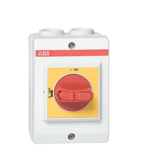 Рубильник в боксе OTP16BA3P до 16А 3х-полюсный, красно-желтая ру чка, резьба 4xPg16 1SCA022389R6880 ABB