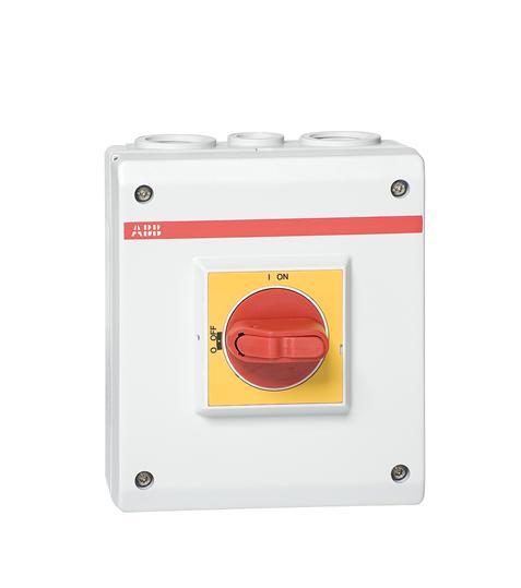 Рубильник в боксе OTP32BA3P до 32А 3х-полюсный, красно-желтая ру чка, резьба 4хPg21+2xPg11 1SCA022389R7000 ABB