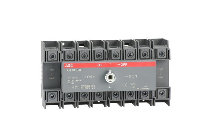 Реверсивный рубильник OT100F4C до 100А 4-полюсный для установки на DIN-рейку или монтажную плату (бе 1SCA105019R1001 ABB